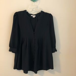 Joie • navy blue pleated babydoll top blouse
